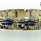 Hall marked Egypt Египет Ägypten Pharaoh Silver Bracelet ,Eye of Horus and Lapis