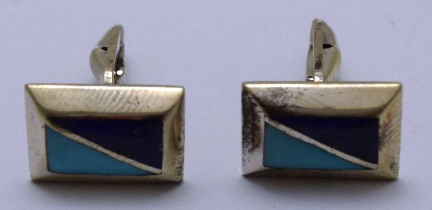 Hall marked Egyptian Silver Cufflinks Men's Shirt Suit Cuff Links ,Real Gems