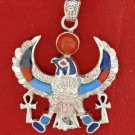 Hall marked Egyptian Pharaoh Silver Pendant,925,Horus with Lapis,Turquoise,Coral