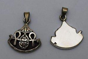 Hall marked Egyptian Pharaoh Silver Pendant ,800,Ankh ,Scarab and Lotus