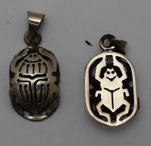 Hall marked Egyptian �صر Egipto �гипе� �gypten Pharaoh Silver Pendant,800,Scarab