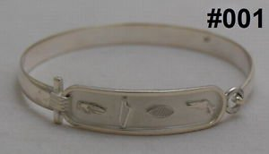 Customize your name on Hall marked Egyptian  Silver  Bracelet ,Silver Cartouche