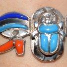 Hallmark Egypt Pharaoh Silver Bracelet Charm Lotus Flower and Ankh key of life