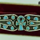 Hallmark Egypt Ägypten Pharaoh Silver Bracelet,Ankh and Turquoise