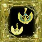 Egypt HallMark 18 Karat Gold pendant, Pharao's God Isis with Precious Turquoise