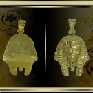 Egyptian Hall Marked 18 Karat Gold pendant, ancient Egypt Pharao's King Tut Mask