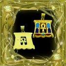 Egyptian Hallmark 18 K. Gold pendant Egypt Pharao Temple With Precious Gemstone