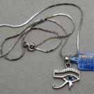 Hallmark Egyptian Pharaoh Silver Platinum Plated Pendant,925,Eye'Horus &Chain