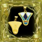Egyptian HallMark 18 Karat Gold pendant, Egypt Pharao's Lotus Flower w Real Gems