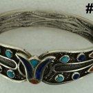 Hallmark Egypt Ägypten Pharaoh Silver Bracelet,Lotus,Turquoise, and Lapis
