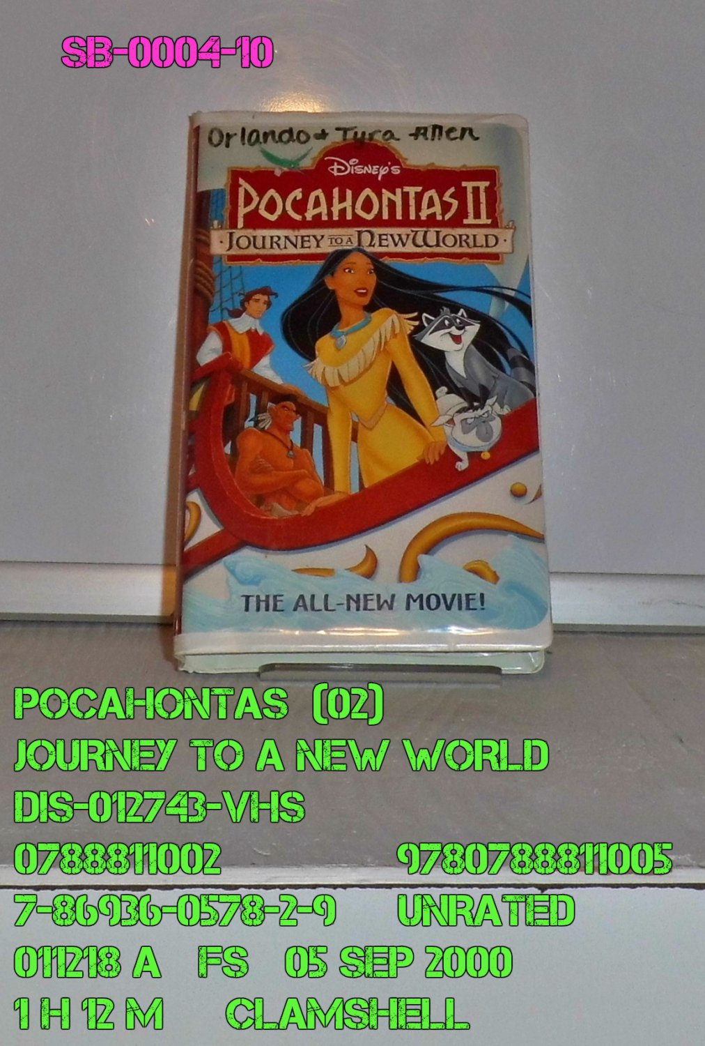 VHS - POCAHONTAS  (02)  JOURNEY TO A NEW WORLD