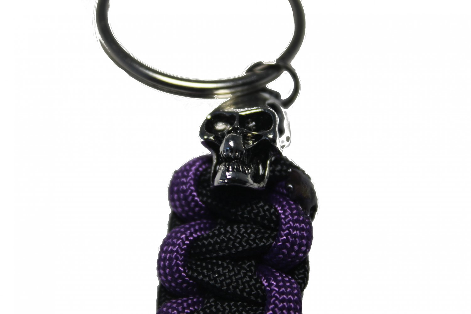 Purple and Black Key Ring with Skull