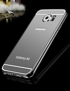 Black Luxury Slim Aluminum Metal Bumper Mirror Back Case Cover For Samsung Galaxy S 6