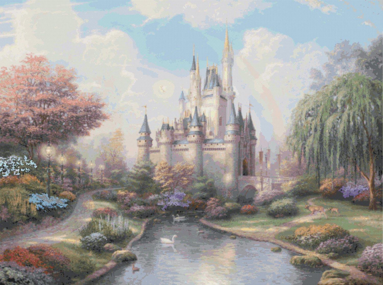 "Cinderella castle - inspirated to Kinkade - 35.43"" x 26.43"" - Cross Stitch Pattern Pdf E547"