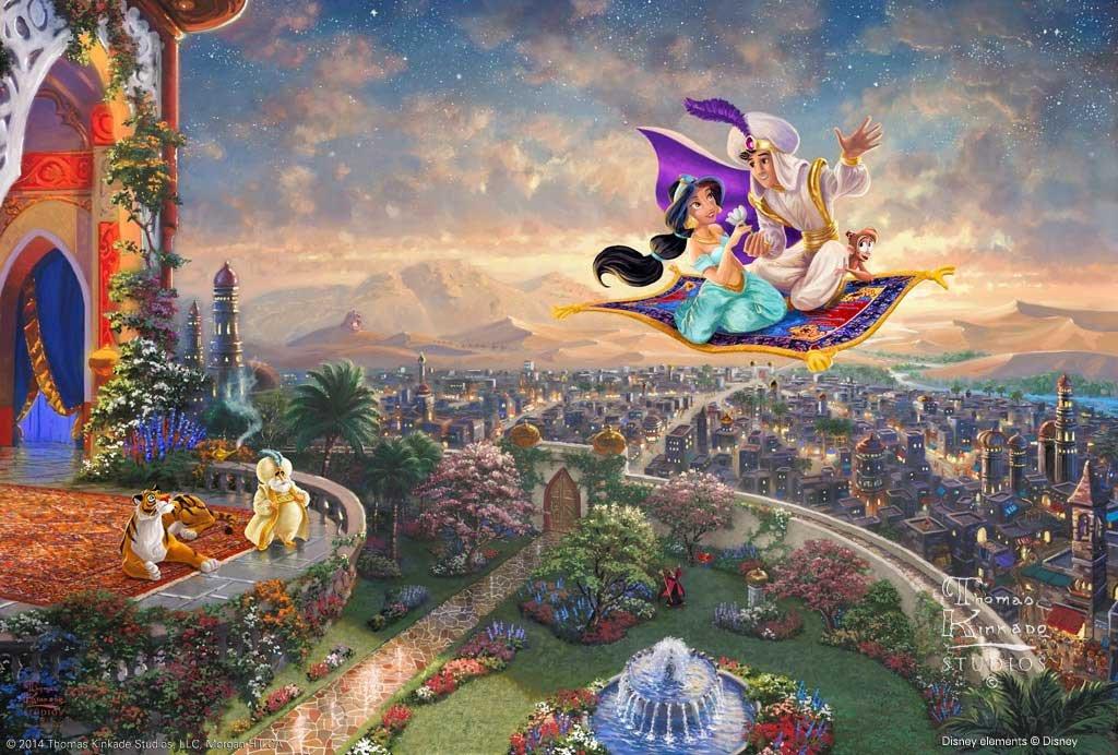 Aladdin inspirated to Kinkade Cross Stitch Pattern Pdf 496 * 335 stitches E505