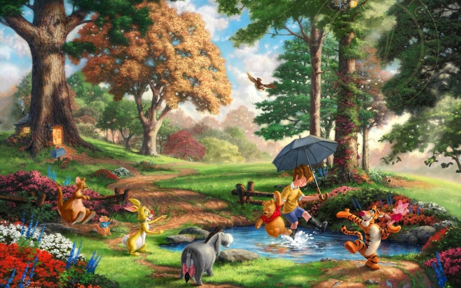 "Winnie the Pooh I - inspirated to Kinkade  - 35.43"" x 22.14"" - Cross Stitch Pattern Pdf C462"