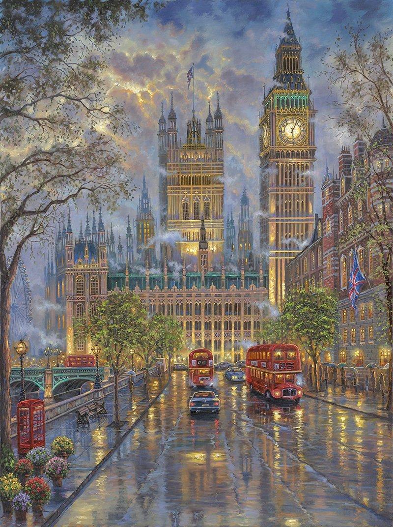 London with Big Ben inspirated to Kinkade Cross Stitch Pattern Pdf 369 * 495 stitches E633