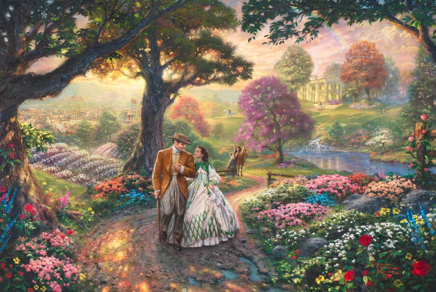 "Gone with the wind -  inspirated to Kinkade - 35.43"" x 23.71"" - Cross Stitch Pattern Pdf E541"
