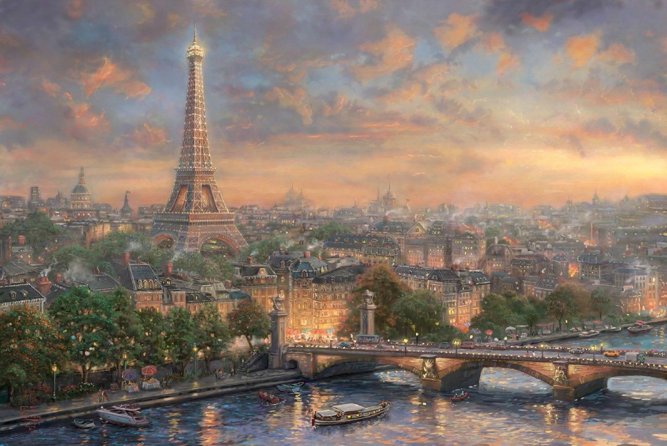 "Paris city of love - inspirated to Kinkade - 35.43"" x 23.64"" - Cross Stitch Pattern Pdf E623"