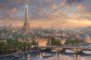 "Paris city of love - inspirated to Kinkade - 35.43"" x 23.64"" - Cross Stitch Pattern Pdf C623"