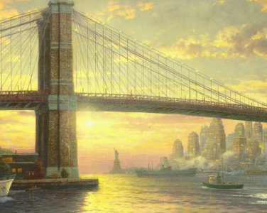 "The spirit of New York - inspirated to Kinkade - 35.43"" x 28.36"" - Cross Stitch Pattern Pdf C195"