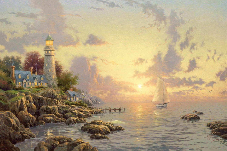 "The Sea Of Tranquility - inspirated to Kinkade - 35.43"" x 23.64"" - Cross Stitch Pattern Pdf E199"