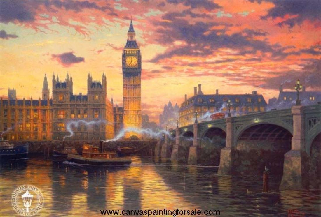 """London - inspirated to Kinkade -  35.43"""" x 24.00"""" - Cross Stitch Pattern Pdf E458"""