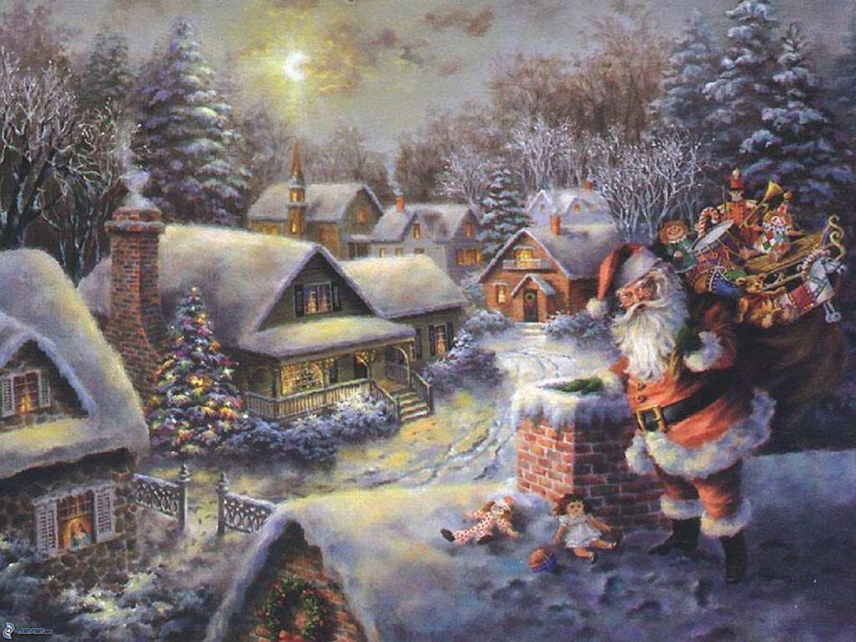 """Santa Klaus - inspirated to Kinkade - 35.43"""" x 22.14"""" - Cross Stitch Pattern Pdf E345"""