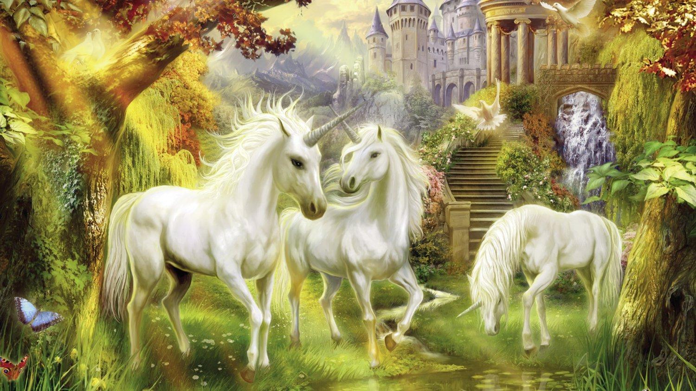 """Unicorns - inspirated to Kinkade - 35.43"""" x 19.93"""" - Cross Stitch Pattern Pdf E200"""
