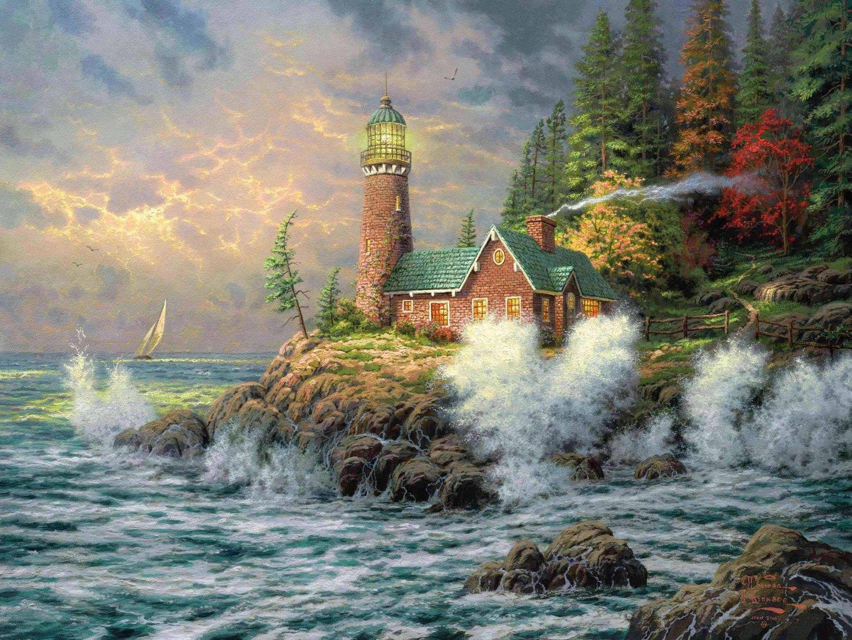 The lighthouse inspirated to Kinkade Cross Stitch Pattern Pdf 496 * 372 stitches E655