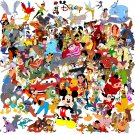 "All character of Disney - 35.43"" x 35.43"" - Cross Stitch Pattern Pdf E007"