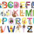 "Alphabet Disney characters - 23.64"" x17.71"" - Cross Stitch Pattern Pdf E464"