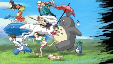 "All characters in the wind of Hayao Miyazaki - 34.29"" x 24.64"" - Cross Stitch Pattern Pdf C585"