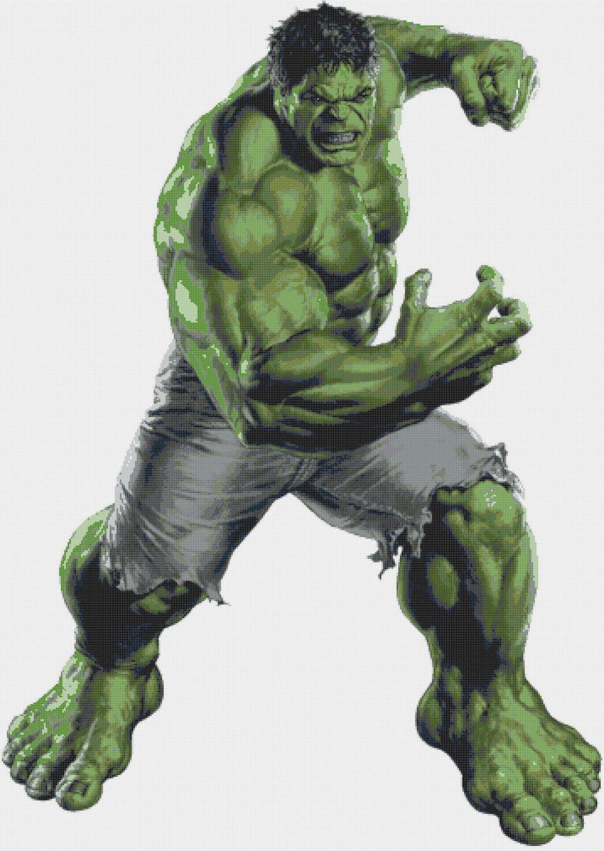 counted cross stitch pattern Hulk by Marvel pdf chart 356x500 stitches E161
