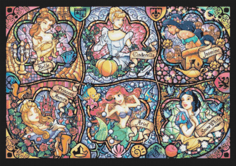 Counted Cross Stitch Pattern Disney Six princesses stained glass pdf 496*349 stitches  E715