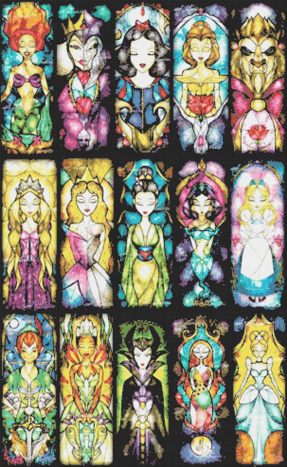 """Disney best characters - stained glass - 21.64"""" x 35.21"""" - Cross Stitch Pattern Pdf E748"""
