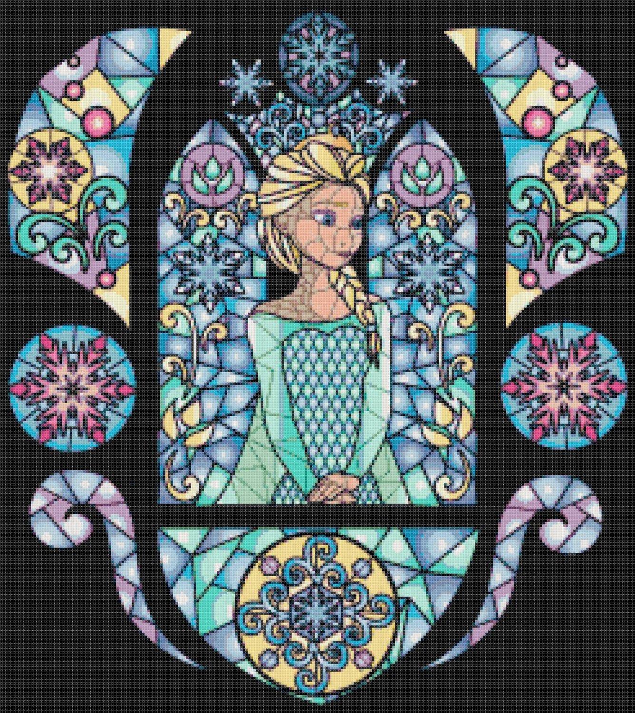 "Elsa of Frozen stained glass - 17.57"" x 19.71"" - Cross Stitch Pattern Pdf E767"