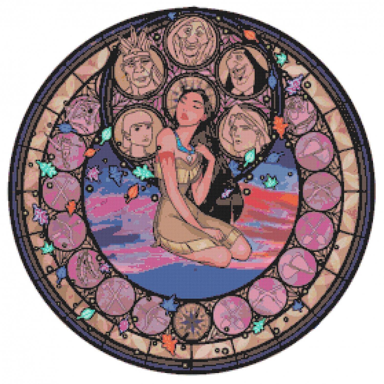 "Pocahontas Stained Glass disney princess - 19.14"" x 19.21""  - Cross Stitch Pattern Pdf E773"