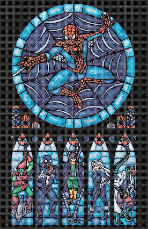 "Marvel spiderman stained glass - 19.71"" x 30.43"" - Cross Stitch Pattern Pdf E782"