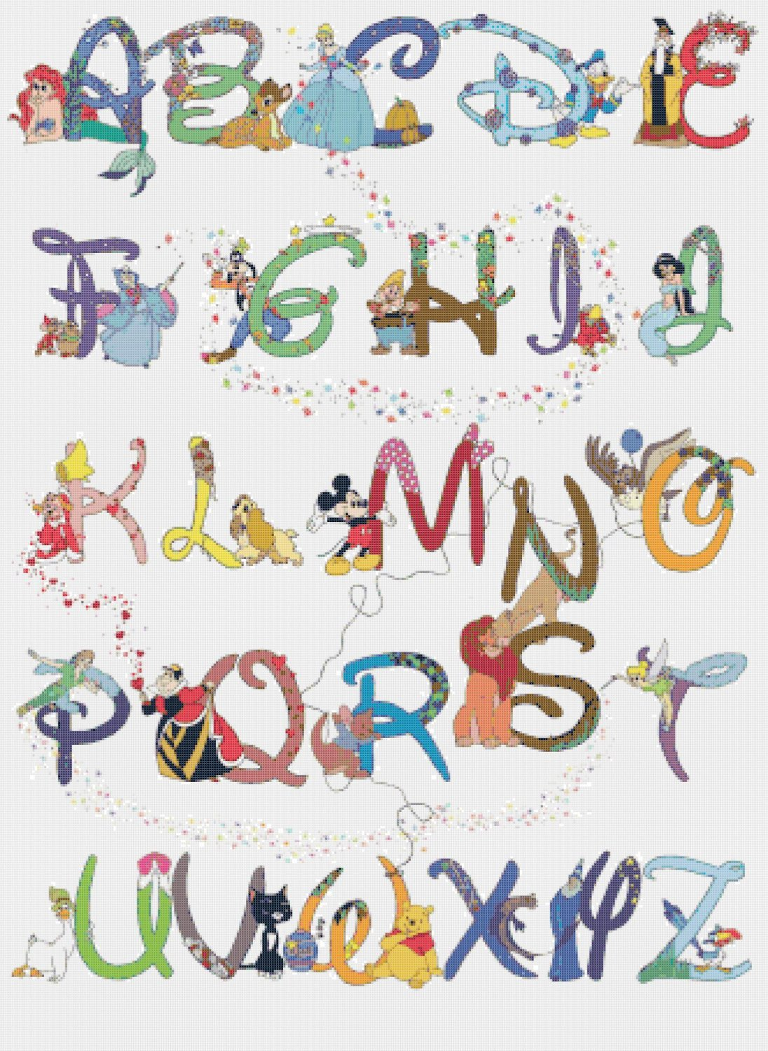 "Alphabet Disney characters - 23.64"" x 32.36"" - Cross Stitch Pattern Pdf E531"