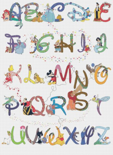 "Alphabet Disney characters - 23.64"" x 32.36"" - Cross Stitch Pattern Pdf C531"