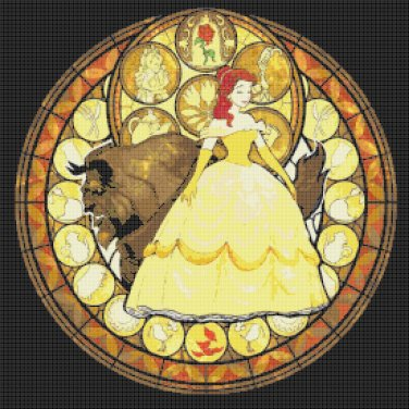 "Beauty and the beast stained glass - 19.71"" x 19.71""   - Cross Stitch Pattern Pdf C784"