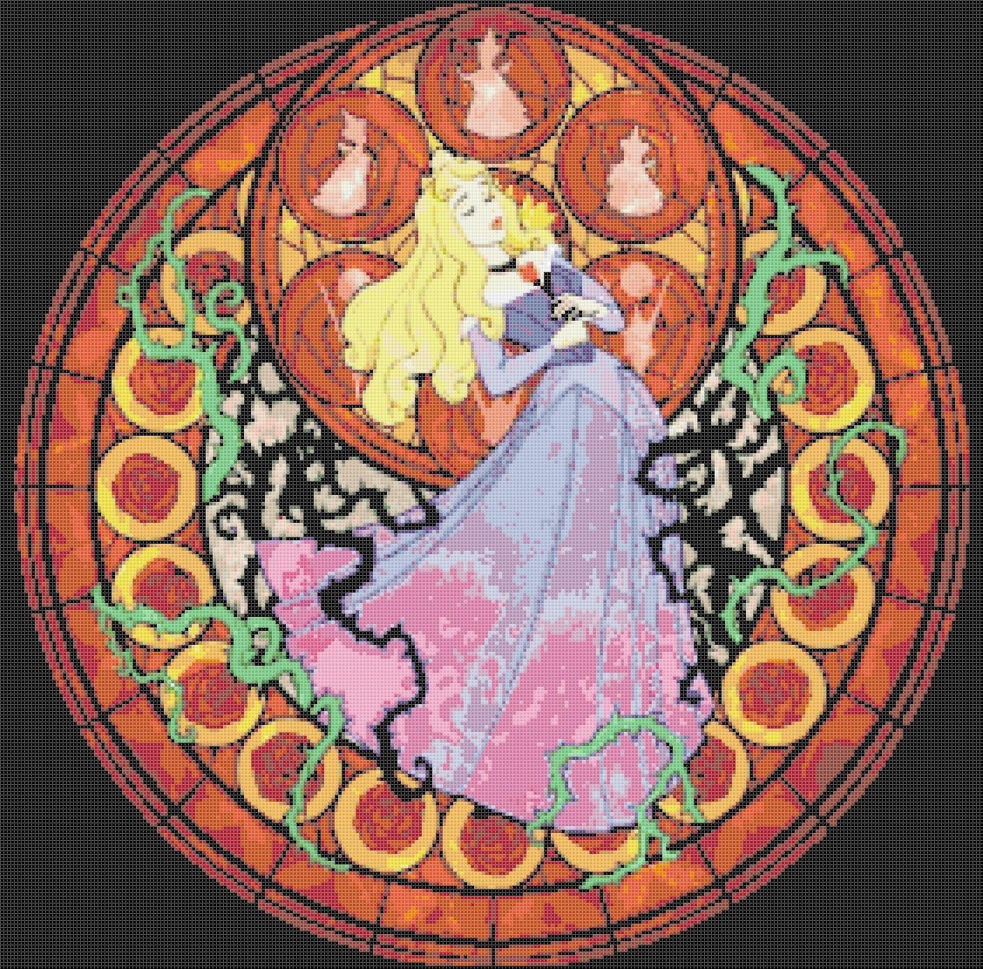 """Sleeping beauty stained glass - 20.14"""" x 19.86"""" - Cross Stitch Pattern Pdf E786"""