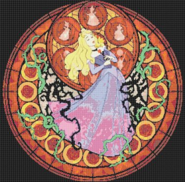 "Sleeping beauty stained glass - 20.14"" x 19.86"" - Cross Stitch Pattern Pdf C786"
