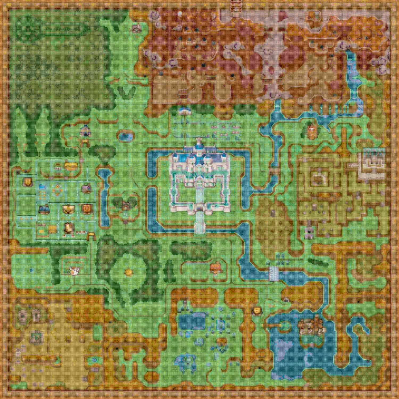 """Zelda a link between hyrule maps - 24.57"""" x 24.57"""" - Cross Stitch Pattern Pdf E801"""