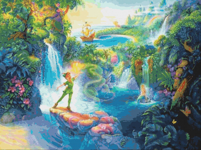 "Peter Pan in Neverland - 35.40"" x 26.50"" - Cross Stitch Pattern Pdf E805"