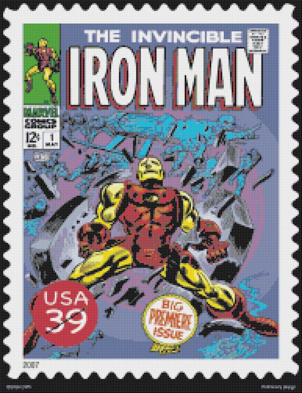 """Iron man stamp - 13.79"""" x 17.93"""" - Cross Stitch Pattern Pdf E816"""