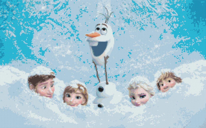 """Frozen all characters - 35.43"""" x 22.14"""" - Cross Stitch Pattern Pdf E832"""