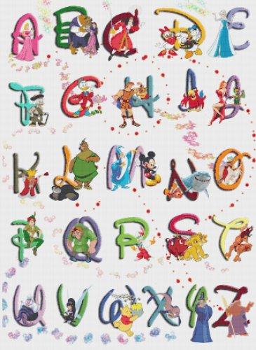 "Alphabet Disney characters 2 - 23.64"" x 32.36"" - Cross Stitch Pattern Pdf C828"