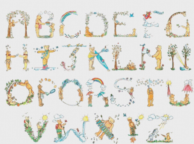 "Alphabet Teddy bear - 31.50"" x 23.36"" - Cross Stitch Pattern Pdf E834"